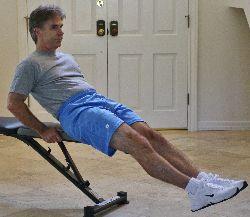 V ups, seated knee raises